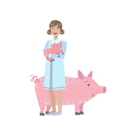 piglet: Woman In White Gown Holding A Piglet With Adult Pig Behing Her Simple Childish Flat Colorful Illustration On White Background
