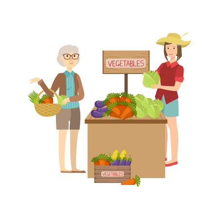 Farmer Vegetables Stand On The Outdoors Market Simple Childish Flat Colorful Illustration On White Background
