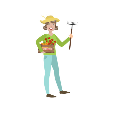 crate: Woman Farmer Holding The Rake And Crate Of Vegetables Simple Childish Flat Colorful Illustration On White Background Illustration