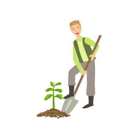 digging: Guy Digging The Soil Around Plant Simple Childish Flat Colorful Illustration On White Background