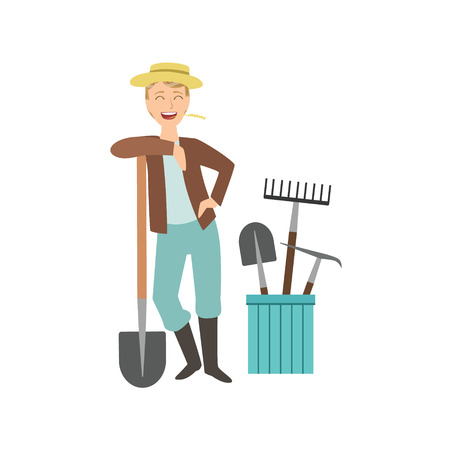 bucket and spade: Guy Leaning On Spade With Bucket Of Other Farm Equipment Behind Simple Childish Flat Colorful Illustration On White Background Illustration