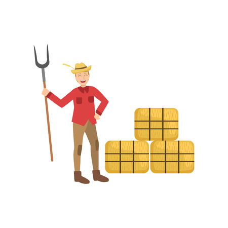 Guy With Farm Fork And Three Hay Stacks Simple Childish Flat Colorful Illustration On White Background Illustration
