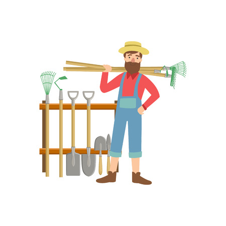 Bearded Man With Stack Of Farming Equipment Simple Childish Flat Colorful Illustration On White Background
