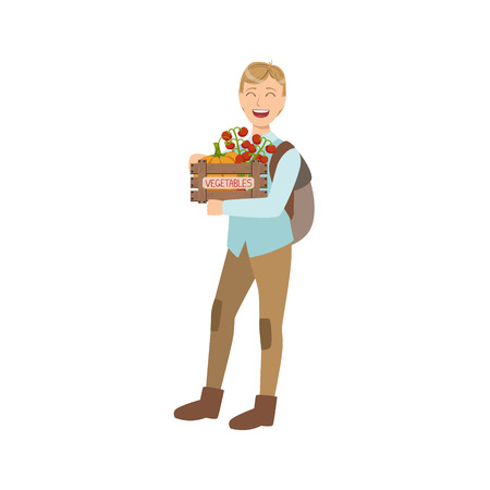 wood crate: Guy With Crate OF Fresh Vegetbles Bought On The Market Simple Childish Flat Colorful Illustration On White Background