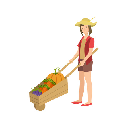 wheel barrel: Woman With Wooden Wheel Barrel Filled With Vegetables Simple Childish Flat Colorful Illustration On White Background