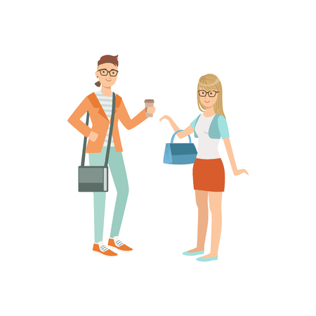 Two Students In Hipster Trendy Outfits Simple Childish Flat Colorful Illustration On White Background Illustration