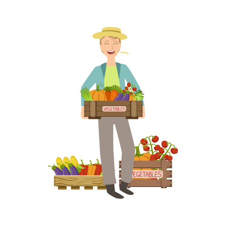 wooden crate: Guy Holding A Wooden Crate Full Of Fresh Vegetables Simple Childish Flat Colorful Illustration On White Background
