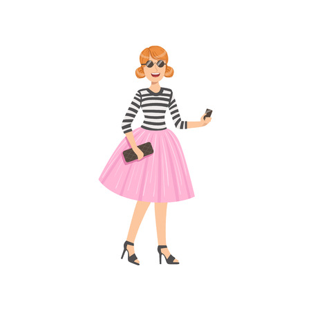tutu: Girl In Pink Tutu And Stripy Top Simple Childish Flat Colorful Illustration On White Background