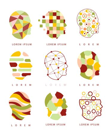 different thinking: Thinking Inside Human Head Different Geometric Abstract Design Icons. Head Shape Filled With Patterns As Creative Thinking Symbol.