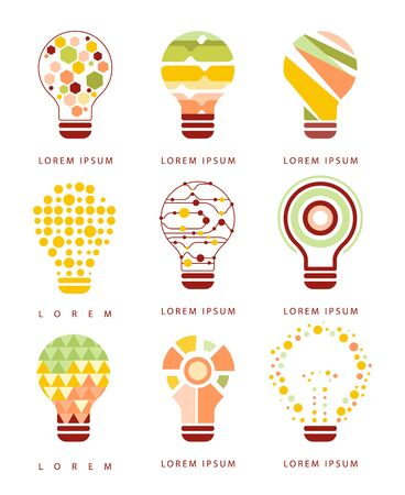 different idea: Idea Bulb Different Geometric Abstract Design Icons. Electric Bulb Shape Filled With Patterns As Creative Thinking Symbol.