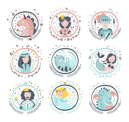 girly: Fairy Tale Heroes Girly Stickers In Round Frames In Childish Simple Design Isolated On White Background