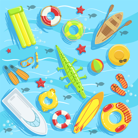 peddle: Water Toys And Water Sports Objects And Boats From Above Illustration. Bright Color Summer Vacation Related Collection Of Objects Detailed Drawing.