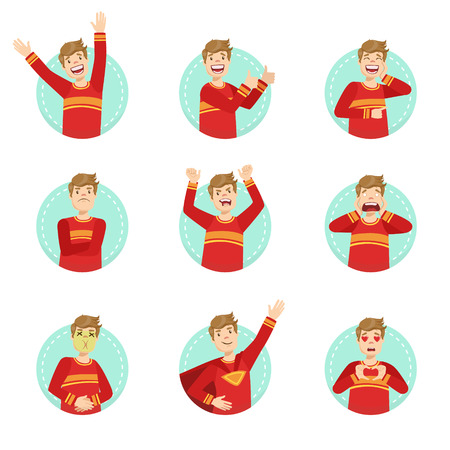 Emozione Body Language illustrazione Set Con Guy Dimostrazione. Set di espressioni facciali emozionali con la persona in rosso T-shirt in blu rotonda Frame. Vettoriali