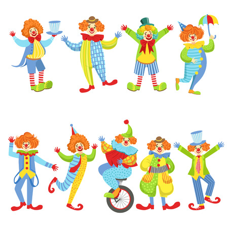 Collection Of Colorful Friendly Clowns In Classic Outfits. Childish Circus Clown Characters Performing In Costumes And Make Up. Illustration