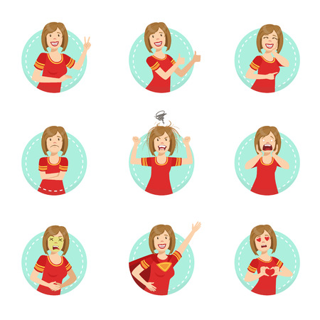 body language: Emotion Body Language Illustration Set With Woman Demonstrating. Set Of Emotional Facial Expressions With Person In Red T-shirt In Blue Round Frame.