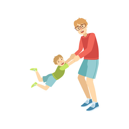 Dad Giving A Spin To His Son Simple Childish Flat Colorful Illustration On White Background Illustration