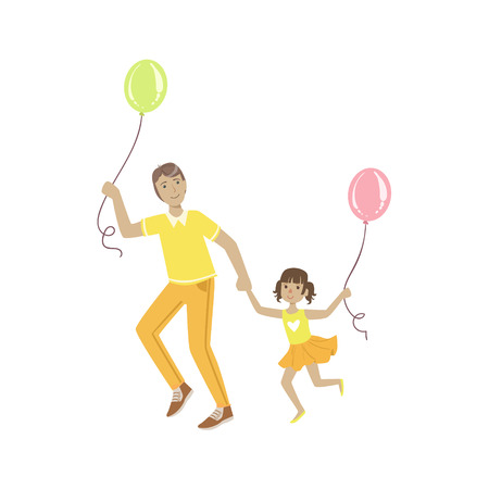 alike: Dad Playing With Daughter With Air Balloons Simple Childish Flat Colorful Illustration On White Background Illustration