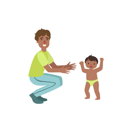 crouching: Dad Crouching To Catch Walking Toddler Simple Childish Flat Colorful Illustration On White Background
