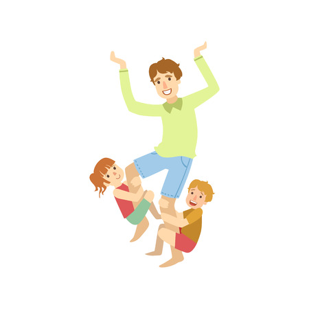 Father Trying To Shake Off The Kids Hanging On His Legs Simple Childish Flat Colorful Illustration On White Background