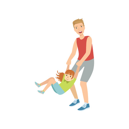 wrists: Dad Spinning His Daughter Holding Her Wrists Simple Childish Flat Colorful Illustration On White Background