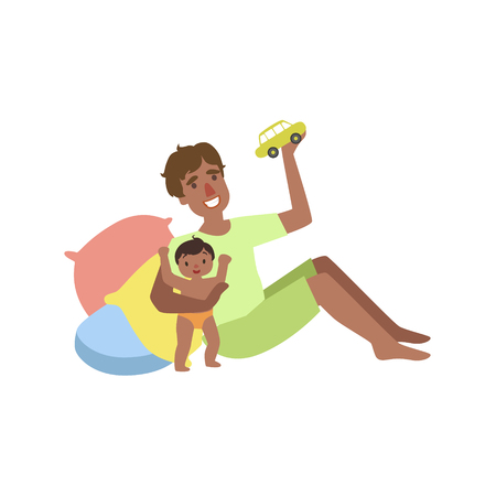 Dad Plays With Baby With Toy Car Simple Childish Flat Colorful Illustration On White Background