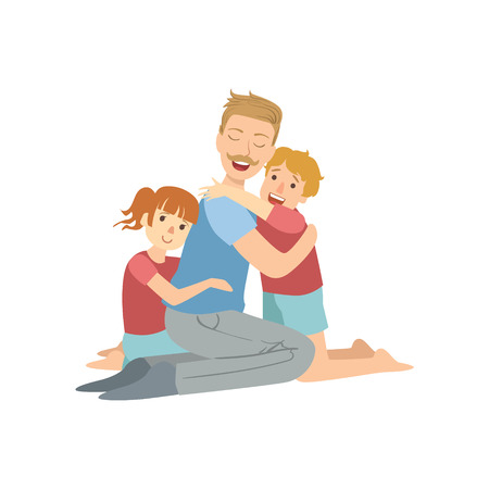 Dad Hugging His Son And Daughter Simple Childish Flat Colorful Illustration On White Background Illustration