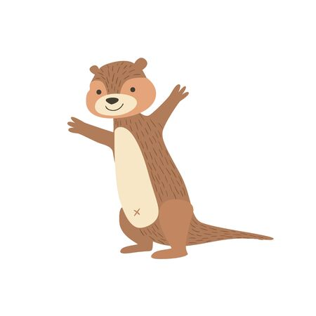 bellybutton: Chipmunk Standing With Arms In The Air Stylized Cute Childish Flat Vector Drawing Isolated On White Background