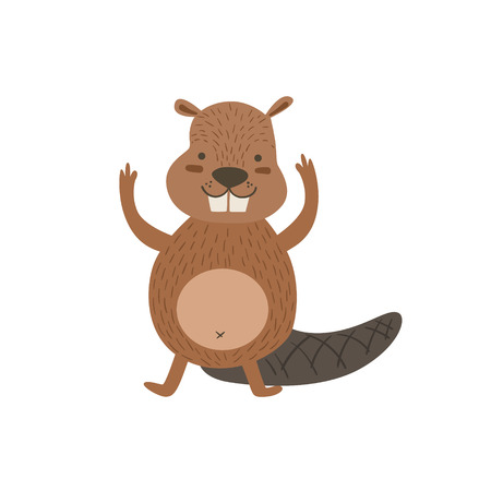 bellybutton: Humanized Beaver Greeting Stylized Cute Childish Flat Vector Drawing Isolated On White Background Illustration