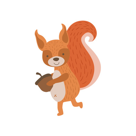 Squirrel Running With Acorn Stylized Cute Childish Flat Vector Drawing Isolated On White Background Illustration