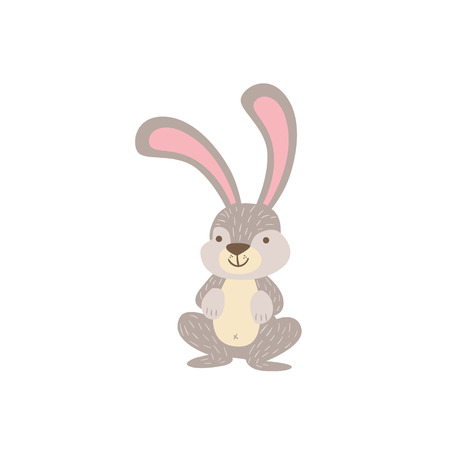 crouching: Grey And White Hare Crouching Stylized Cute Childish Flat Vector Drawing Isolated On White Background