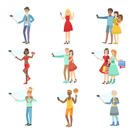 taking picture: People Taking Picture With Selfie Stick Set Of Illustrations.Colorful Simplified Character Collection Of Flat Vector Drawings Isolated On White Background.