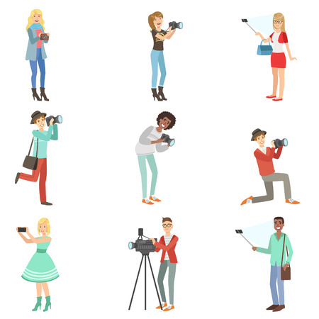 People Taking Pictures With Photo And Video Cameras Set Of Illustrations. Colorful Simplified Character Collection Of Flat Vector Drawings Isolated On White Background. Illustration