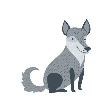 grey wolf: Grey Wolf Sitting Like A Dog Smiling Stylized Cute Childish Flat Vector Drawing Isolated On White Background
