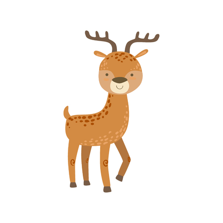 spotter: Brown Spotter Deer With Antlers Stading Stylized Cute Childish Flat Vector Drawing Isolated On White Background Illustration