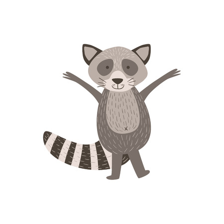 greeting stylized: Humanized Raccoon Greeting Stylized Cute Childish Flat Vector Drawing Isolated On White Background Illustration
