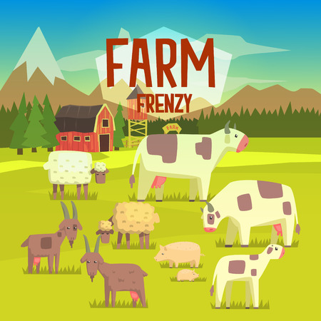 frenzy: Farm Frenzy Illustration With Field Full Of Farm Animals.Bright Color Funky Flat Drawing In Childish Style.
