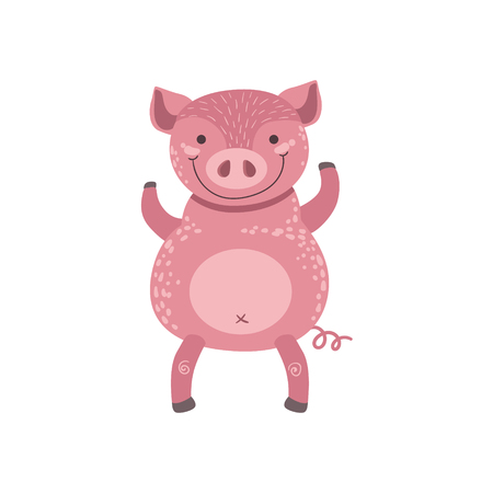 Pink Pig Standing On Two Legs Stylized Cute Childish Flat Vector Drawing Isolated On White Background Illustration