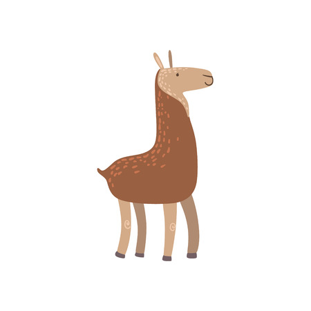 llama: Brown Llama Standing Stylized Cute Childish Flat Vector Drawing Isolated On White Background Illustration