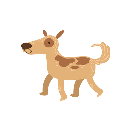 childish: Shepherd Dog Walking Stylized Cute Childish Flat Vector Drawing Isolated On White Background Illustration