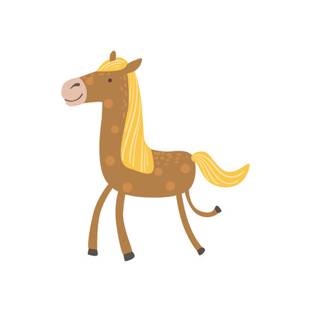 Brown Horse With Yellow Crest Walking Stylized Cute Childish Flat Vector Drawing Isolated On White Background Illustration