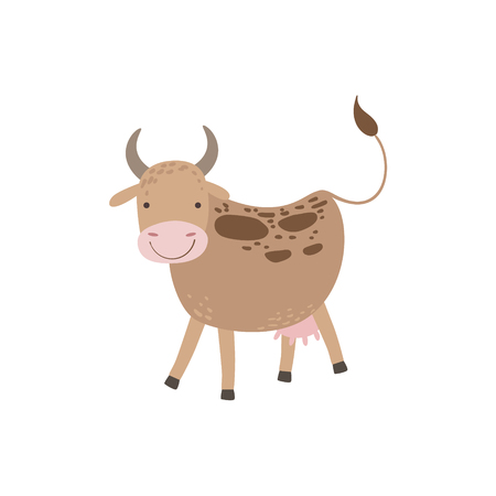udder: Cow With Brown Spots And Udder Standing Stylized Cute Childish Flat Vector Drawing Isolated On White Background