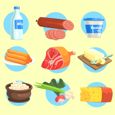 cottage cheese: Set Of Fresh Farm Products Colorful Stickers With Blue Circle On The Background In Detailed Simple Vector Design.