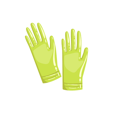 rubber glove: Pair Of Green Rubber Gloves Simple Realistic Bright Flat Colorful Illustration Isolated On White Background