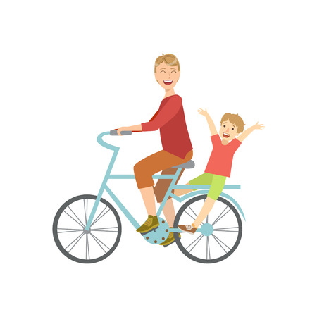 to spend the summer: Father Riding A Bicycle With His Kid On The Back Simple Childish Flat Colorful Illustration On White Background Illustration