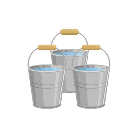 Three Metal Buckets With Water Simple Realistic Bright Flat Colorful Illustration Isolated On White Background