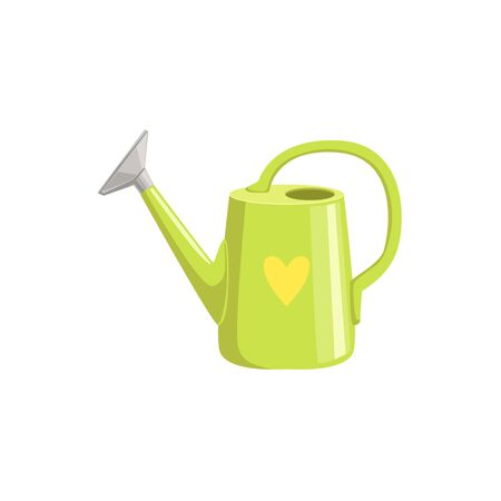 Green Watering Can With Heart Print Simple Realistic Bright Flat Colorful Illustration Isolated On White Background