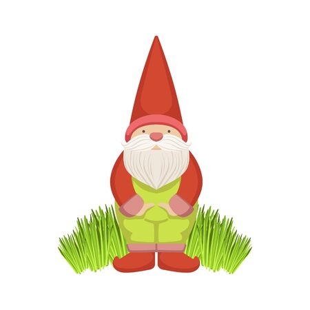 Garden Gnome Standing On Grass Simple Realistic Bright Flat Colorful Illustration Isolated On White Background