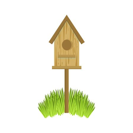 Wooden Bird House On Grass Simple Realistic Bright Flat Colorful Illustration Isolated On White Background
