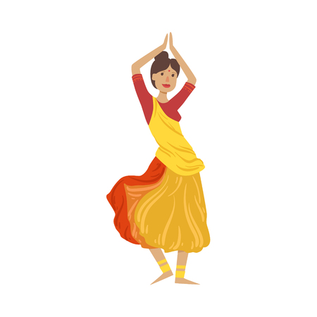 Woman In Sari Dancing National Indian Dance Country Cultural Symbol Illustration. Simplified Cartoon Style Drawing Isolated On White Background