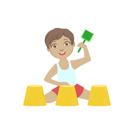 By Playing With Sand Pies On The Beach Simple Design Illustration In Cute Fun Cartoon Style Isolated On White Background Illustration